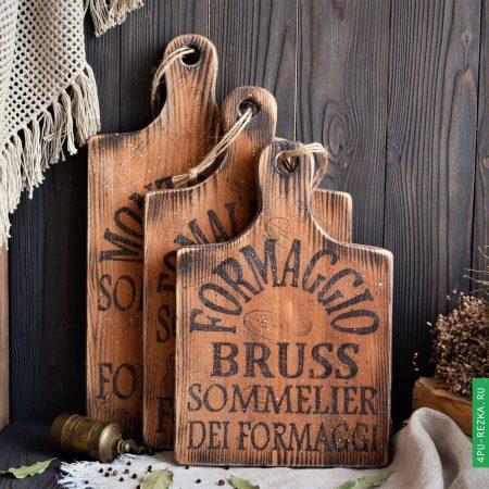 Деревянные доски с логотипом покрытые маслом