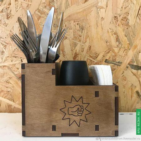 Подставка деревянная для салфеток и приборов