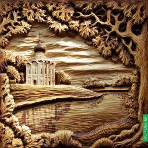 Резные картины из дерева ручной работы