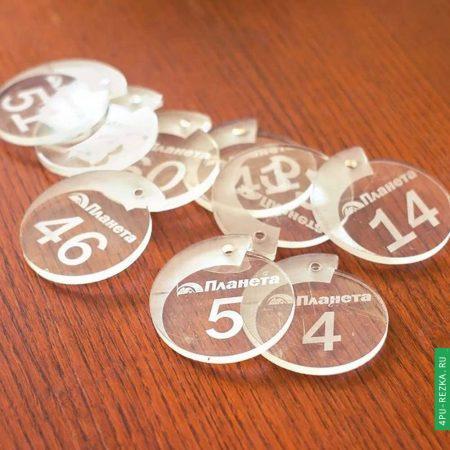 Брелки с номерами из оргстекла